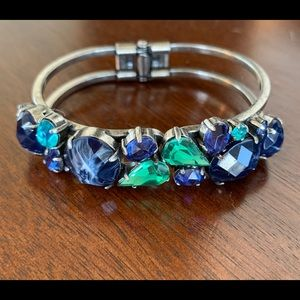 Silver Bracelet with Blue and Green Stones